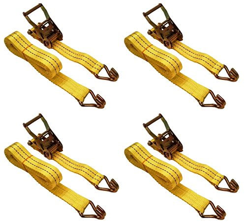 """4 Pc 1-1/2"""" inch x 15' Ft Ratchet Tie Down Cargo Straps 4000 Lbs J Hooks 4 pack -  ST1"""