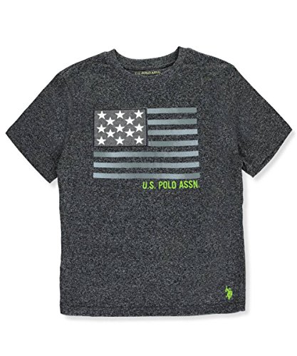 U.S. Polo Assn. Big Boys' Short Sleeve Embellished Crew Neck T-Shirt, Marled Raven IP06, 10/12