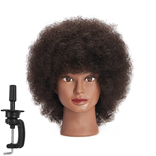 Traininghead 10 Afro Mannequin Head With 100% Human Hair Training Head Manikin Cosmetology Doll Head For Hairdresser With Clamp Stand (C)