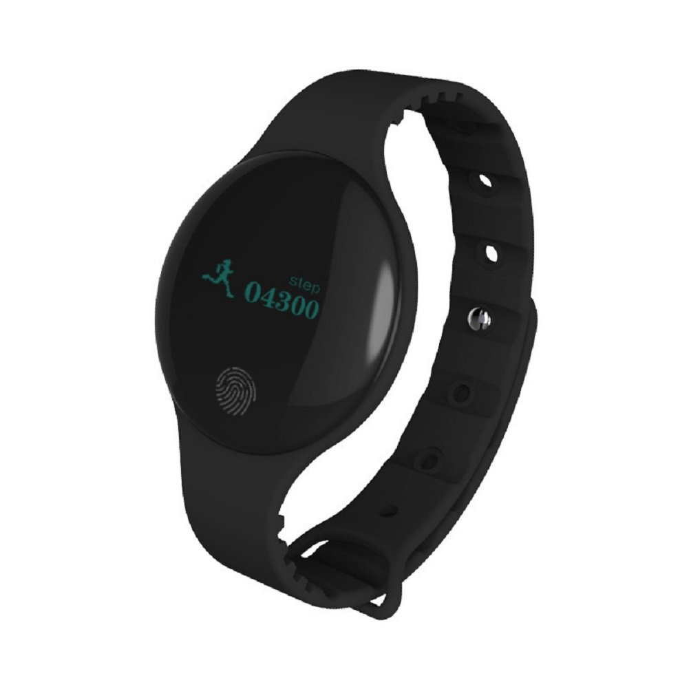 Fitness Tracker with Heart Rate Monitor Waterproof,Round Touch Screen Activity Tracker Sports Smart Watch for Android & IOS,Super long Standby Time&Unlock by shake (Black)