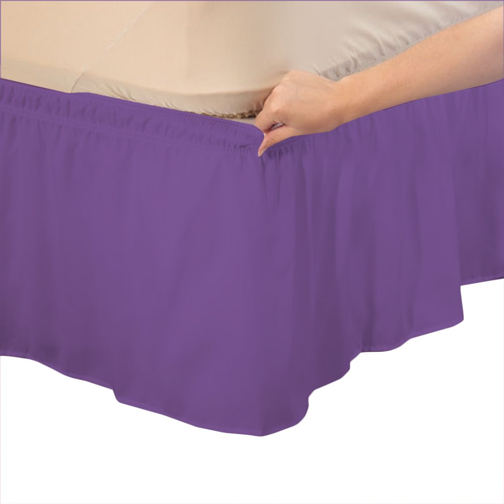 Relaxare Olympic Queen 500TC 100% Egyptian Cotton Purple Solid 1PCs Wrap Around Bedskirt Solid (Drop Length: 18 inches) - Ultra Soft Breathable Premium Fabric