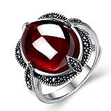 #8: EVER FAITH 925 Sterling Silver Oval Garnet Gemstone Crystal Retro Black Leaf Cocktail Adjustable Ring