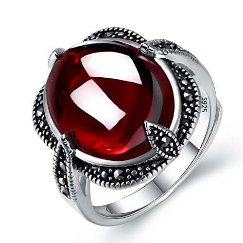 EVER FAITH 925 Sterling Silver Oval Red Garnet Gemstone Crystal Retro Black Leaf Cocktail Adjustable Ring