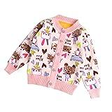 ZHUANNIAN Baby Girls Cartoon Fleece Cardigan Button Sweaters (12-18 Months, Beige)