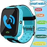 1.54'' Smart Watch For Kids,GPS Tracker Phone Watch with SIM Game Camera Flashlight SOS for Parents APP iPhone Android Smartphone for Children Boys Girls Sport Camping Birthday Holiday Gift (Blue)