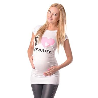 a96782e72 K-youth Ropa Premama Verano Ropa Embarazada Mujer Camiseta Premamá T-Shirt  Blusa Embarazada