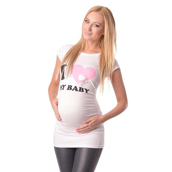 K-youth Ropa Premama Verano Ropa Embarazada Mujer Camiseta Premamá T-Shirt Blusa Embarazada. Pasa el ratón por encima de ...