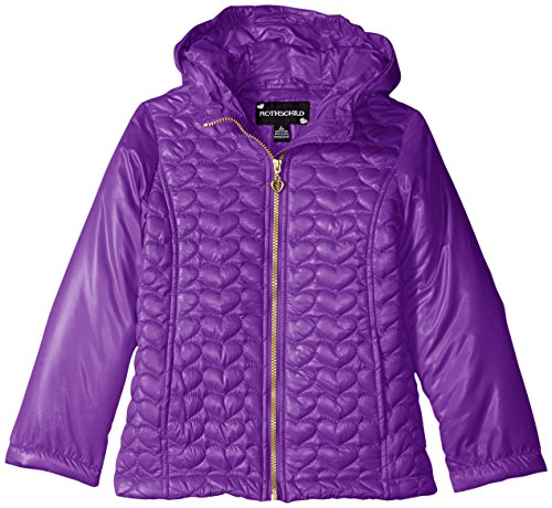 Large Amethyst Heart (Rothschild Little Girls' Heart Quilted Jacket, Amethyst, LARGE/6X)