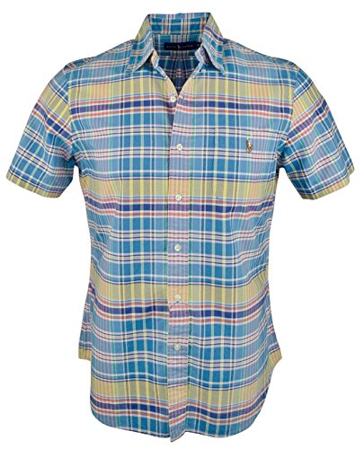 Polo Ralph Lauren Men's Plaid Oxford Shirt (Small, Ocean Yellow)