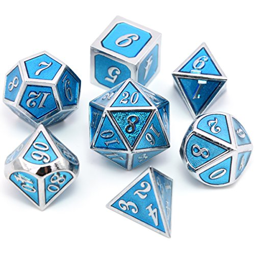 Polyhedral Metal dice Complete Set of 7 Chromium Transparent Light Blue for Dungeons and Dragons MTG RPG Role Playing Table Game