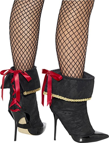 [Pirate Black Boot Covers with Lace-Up Back] (Pirate Costumes Boot Covers)
