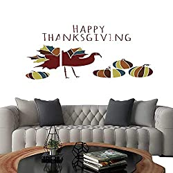 UHOO Pictures Paintings on Canvas Wallthanksgiving Ethnic Maple Turkey Pumpkin Doodle. Brick Wall Stickers 24x36x3pcs