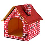 Zcx Removable and Washable Foldable Red Brick Pet House Dog Shoulder Chimney House Cat Litter (Color : Red, Size : 90X40.5X44CM)