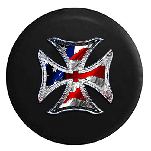 Iron Cross Cover (Iron Cross Steel Grate and American Flag Patriot Biker Spare Tire Cover Black 32 in)
