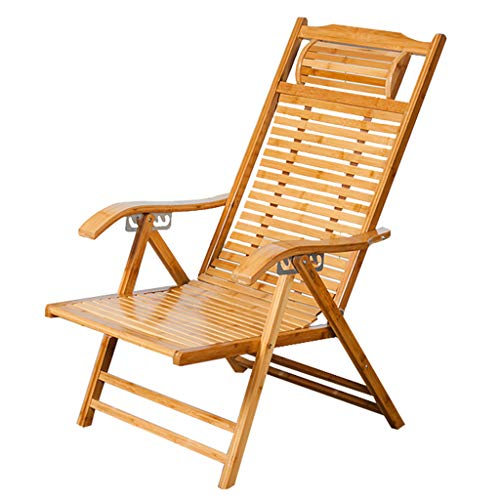 XITER Deck Chair Beach Yard Pool Folding Reclining Adjustable Chaise Bamboo Lounge Chair Indoor or Outdoor Relax Chair (Color : A)