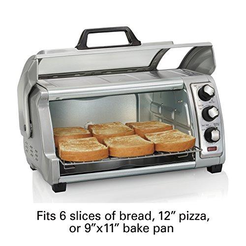 Hamilton Beach 31127D Countertop Toaster Oven, Roll-Top Door, Silver