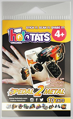 50% OFF HoloTats Pedal 2 Metal - Holographic Augmented Reality Temporary Tattoos Great For Children's Parties and Kids Goodie Bags (Set of 10) …
