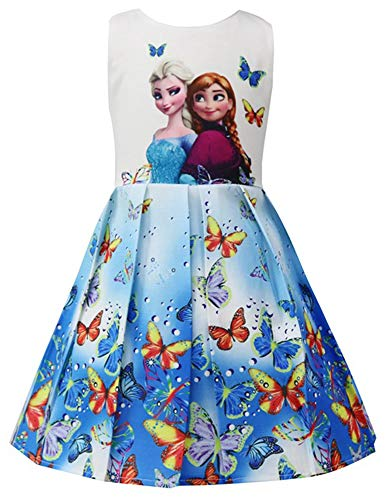 WNQY Princess Anna Costume Dresses Little Girls Cosplay Dress up (Blue,110/3-4Y) -