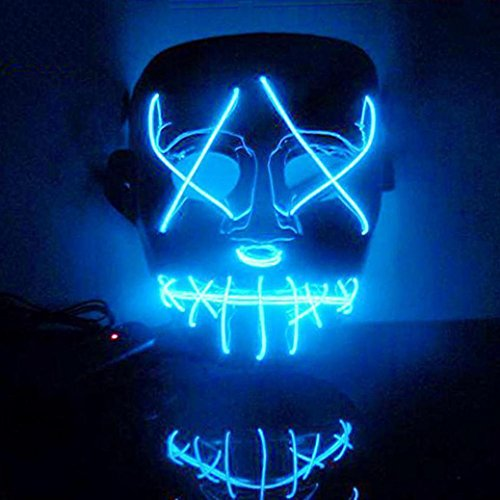 Hoshell The Purge Movie EL Wire DJ Party Festival Halloween Costume LED Mask HQ New -