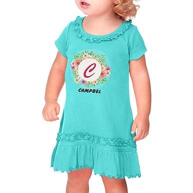 5f8aa66c398 Personalized Custom Alphabet Flowers Roses Letter Taped Neck Toddler Short  Sleeve Girl Ruffle Cotton Sunflower Dress