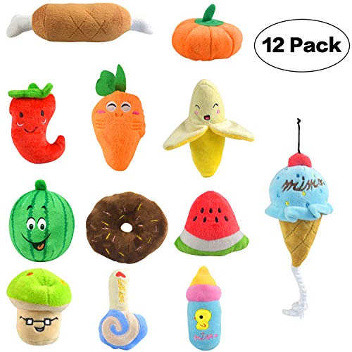 12 Pack Squeaky Dog Toys for Small Dogs and Puppy Soft Plush Dog Toys with Squeaker Cute Fruits and Vegetables