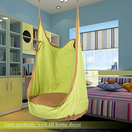 CO-Z Kids Pod Swing Child Hanging Chair Indoor Kid Hammock Seat Pod Nook (Upgraded Two Straps, Green) ()