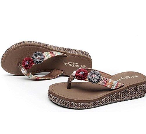 Sandales Plage Tongs de de à Pantoufles Dérapante de Plage mi Anti de Photo Plage Talon Usure Color Chaussures Vacances de Vacances 7x44qOI