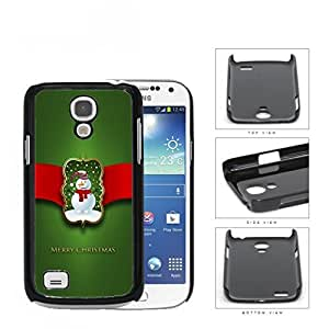 Merry Christmas Sign with Cute Snowman with Red Ribbon and Green Background Samsung i9190 Galaxy S4 (MINI) Hard Snap on Plastic Cell Phone Case Cover