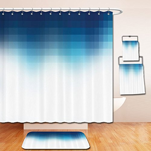 LiczHome Bath Suit: Showercurtain Bathrug Bathtowel Handtowel Navy Blue Decor Collection Shaded Digital Square Gridined Edgy Mosaic Motifs Piel Effects Artprint Home Polyester Fabric Dark Bluehite For - Motif Wood Cabinet