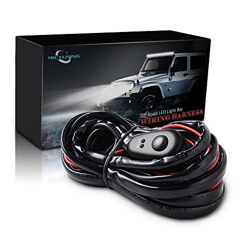 MICTUNING LED Light Bar Wiring Harness Off Road Power 40A Relay Fuse ON-Off Switch (2 Lead 12Feet)