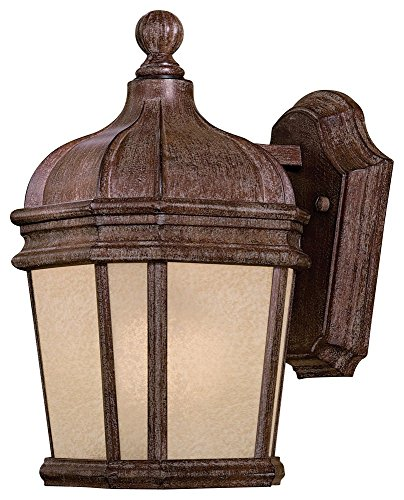 Minka Great Outdoors 8690-1-61-PL Harrison - One Light Outdoor Wall Mount, Vintage Rust Finish with French Scavo Glass ()