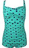 Women's Elegant Polka Dots One Piece Twisted Boyleg Swimsuit Swimwear Green