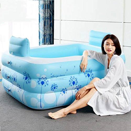 Bathtubs Freestanding Inflatable Bath Tub Adult Tub Stylish Home Bath Comfortable Folding Bath Tub Passion Double Couple Inflatable Blue Inflatable, Relieve Fatigue by Bathtubs (Image #2)