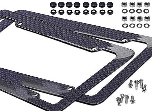 - Noa Store Carbon Fiber Style License Plate Frames Front & Rear 2pc Set with Fasteners and Screws Glossy Finish