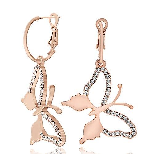 Kemstone Rose Gold Butterfly Dangle Earrings Rhinestone Drop Earring for Women Lady Girl (Rhinestone Butterfly Earrings)