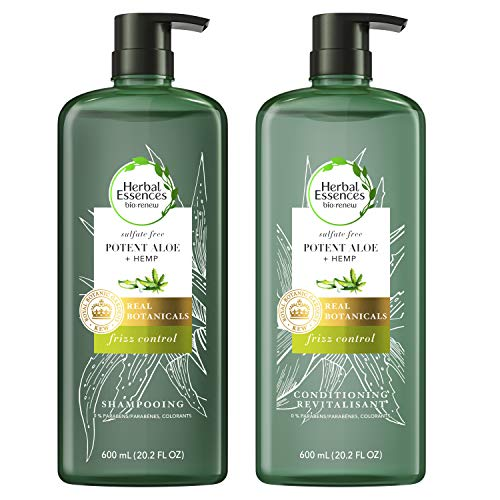 Herbal Essences, Sulfate Free Shampoo & Conditioner, Potent Aloe + Hemp, Bio Renew, 20.2 Fl Oz Bundle