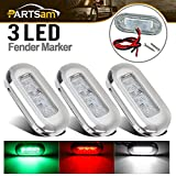 Partsam 3X 3 Marine RV Boat LED Courtesy RED Green & White Lights High Polished 3 LED;Sealed Submersible Led Interior Step Deck Floor Stairway Lights Accent Lighting, Reduce Yacht's Battery Usage