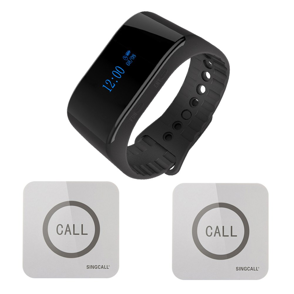 Singcall Waterproof Wireless Paging System Call Bell For Elderly 1 Watch Receiver And 2 Pagers Buy Online In Dominica At Dominica Desertcart Com Productid 48550580