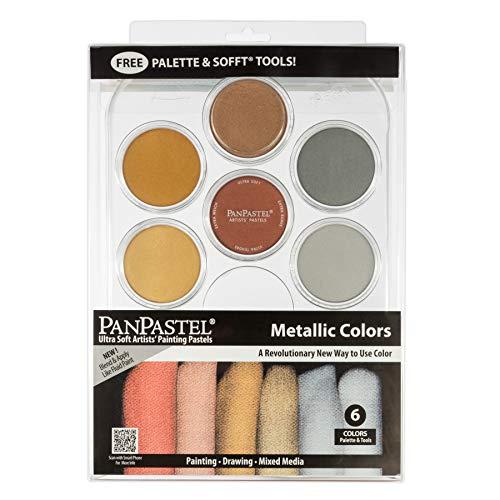 PanPastel 30077 Metallics 7 Color Ultra Soft Artist Pastel Kit w/Sofft Tools & Palette Tray