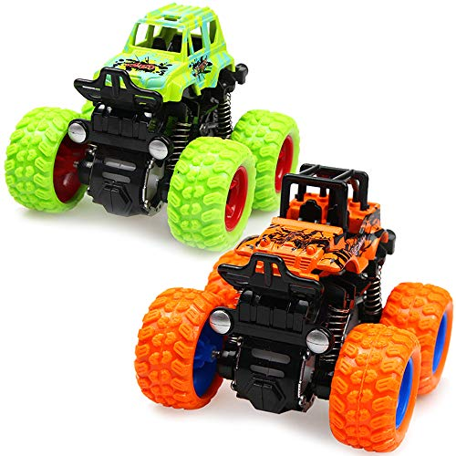 Monster Trucks Friction Powered Cars for Kids, Inertia Car Toys for Boys Girls,Push and Go Vehicles,4 Wheel Drive,Big Tire,360 Degree Rotation,Suspension System,Green and Orange