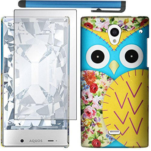 Sharp Aquos Crystal Case Combo(3-items) - ZiZo(TM) Hard Case Snap-on Cover (Blue Owl Head)+ICE-CLEAR(TM) Screen Protector Shield(Ultra Clear)+Touch Screen Stylus (Sharp Aquo Crystal Cases compare prices)