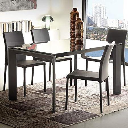 M-029 Mesa de Comedor Negra de Cristal Extensible Design ...