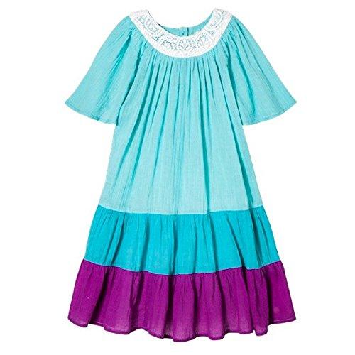 Pink Chicken Happy by Cotton Gauze Dress Blue (5Y)