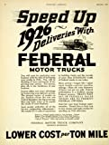 1926 Ad Antique Federal Knight Motor Delivery Trucks Tons Detroit American Cars - Original Print Ad