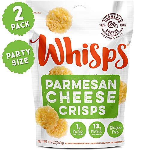 Whisps Parmesan Cheese Crisps | Keto Snack, Gluten Free, Low Carb, Sugar Free, High Protein | 9.5oz (2 Pack)