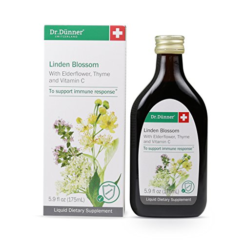 Dr.Dünner Wild-Grown Linden Blossom Syrup with Organic Elderflower, Thyme, and Vitamin C, Herbal Immune System Support Supplement, Non-GMO, Made in Switzerland, 5.9-Ounces