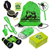 Kid Explorer Kit Binocular Flashlight Compass Magnifying Glass Whistle Backpack Play Kid Camping Gear Educational Toys Adventure Hiking Bird Watching Gift for 3-12 Year Old Boys and Girls (Green)