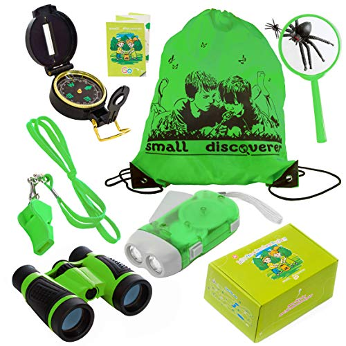 Kid Explorer Kit Binocular Flashlight Compass Magnifying Glass Whistle Backpack Play Kid Camping Gear Educational Toys Adventure Hiking Bird Watching Gift for 3-12 Year Old Boys and Girls