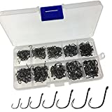 Crazy Sale 500 Pcs Pieces 10 Sizes Black Silver Fishing Fish hook Hooks Comes with Retail Carrying Box Fishing Tackle set lure rod For USA