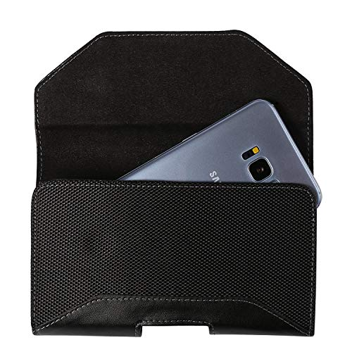(Universal PU Leather Case Holster Pouch with Belt Clip For Motorola Moto G6 Plus / G6 Play / E5 Plus / Z3 Play/OnePlus 6 / Nokia 6.1 Plus/Alcatel 5V / Asus ROG Phone (Ink) )
